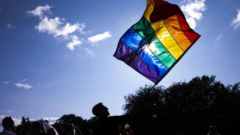 Ein Teilnehmer der WorldPride-Parade in Kopenhagen hält eine Regenbogenfahne.