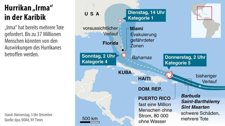 Karibik Karte.Bilderstrecke Zu Irma Inseln Können Sturm Kaum Abschwächen Bild