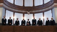 Die Richter des sächsischen Landesverfassungsgerichts bei der Urteilsverkündung am 16. August 2019.