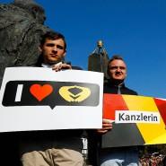 Merkel-Anhänger bei einem Wahlkampfauftritt der Kanzlerin in Fritzlar