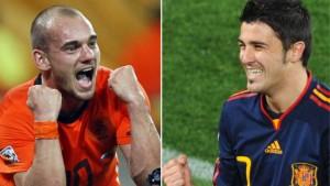 Holland gegen Spanien - Sneijder gegen Villa