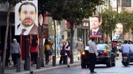 Poster mit einem Foto des zurückgetretenen libanesischen Regierungschefs Saad Hariri in Beirut