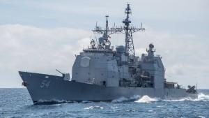 Amerikanisches Kriegsschiff durchfährt Straße von Taiwan