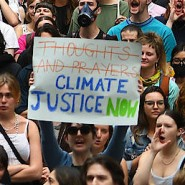 """Demonstranten halten während einer Protestkundgebung unter dem Motto """"New South Wales brennt, Syndey erstickt"""" Plakate in die Luft."""