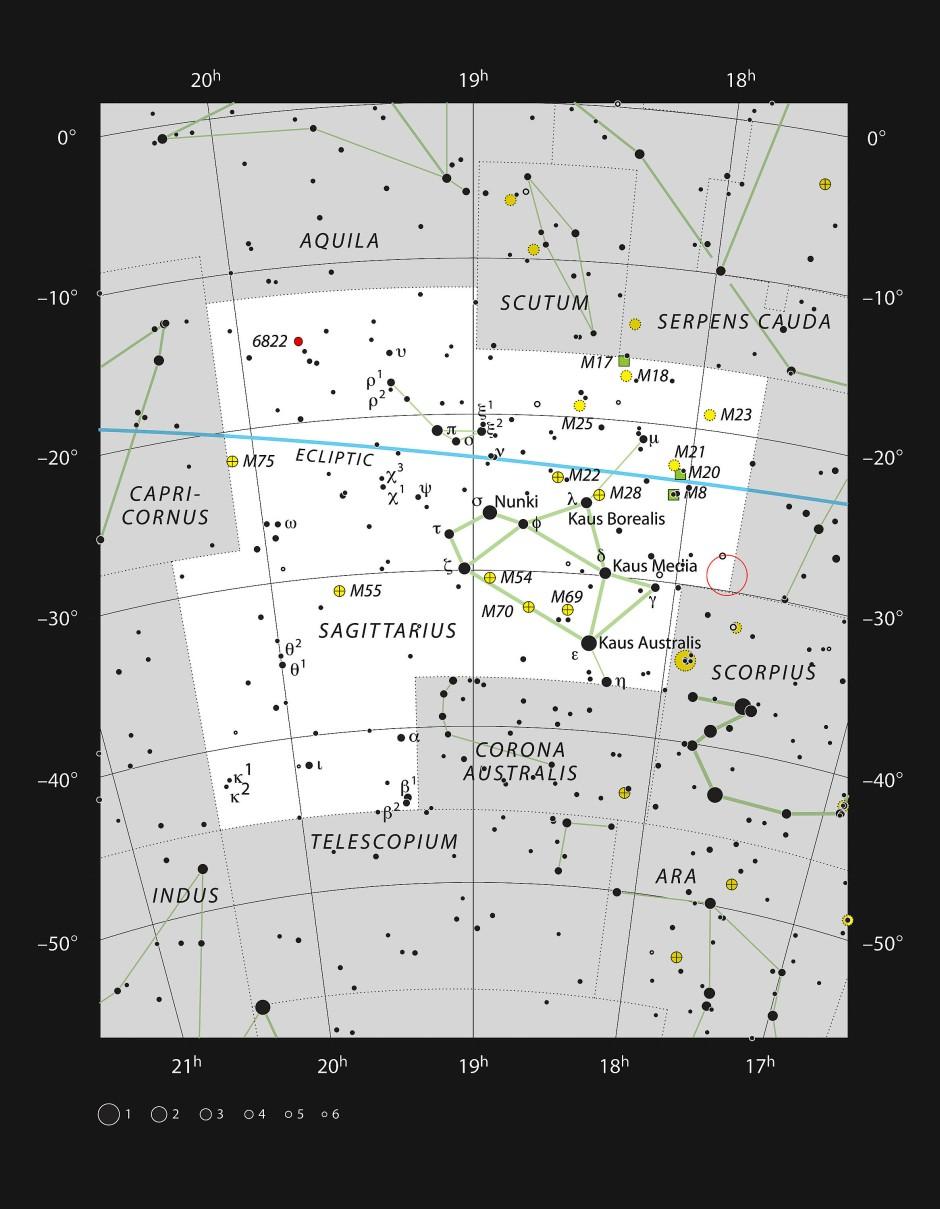 Der rote Kreis zeigt, wo das Schwarze Loch Sagittarius A* am Himmel zu finden ist.
