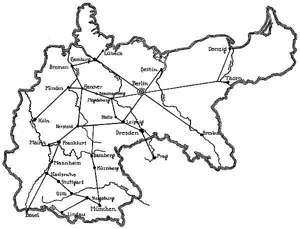Friedrich Lists Entwurf für ein deutsches Eisenbahnnetz aus dem Jahre 1833