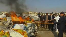 Drogenverbrennung in Pakistan