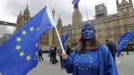 Eine Frau demonstriert vor dem britischen Parlament gegen den Brexit: Durch diesen soll die Zuwanderung massiv beschränkt werden.