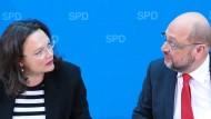 Partner oder bald schon Konkurrenten? Andrea Nahles mit Martin Schulz