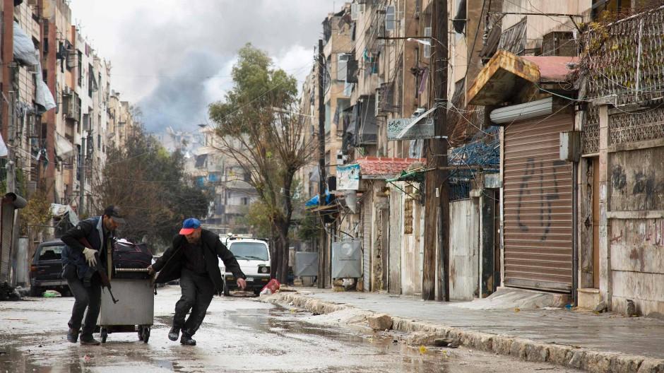 Szene vom Mittwoch aus einen Stadtteil von Aleppo, der bislang von den Rebellen gehalten wurde