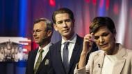 Die Spitzenkandidaten: Norbert Hofer (FPÖ), Sebastian Kurz (ÖVP) und Pamela Rendi-Wagner (SPÖ) bei einer Fernsehdebatte im September