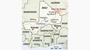 Infografik / Karte / Mali / mit Berg Adrar des Ifoghas
