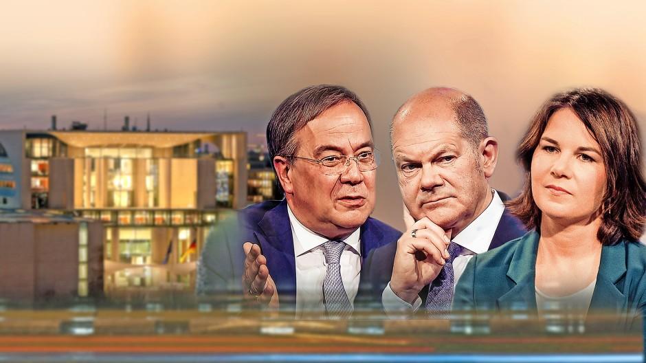 Die drei Kanzlerkandidaten und ihr Ziel (im Hintergrund)