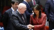 Die UN-Botschafter Amerikas und Russlands, Nikki Haley und Wassilij Nebensja am Dienstagabend.