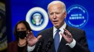Der amerikanische Präsident Joe Biden während im Weißen Haus