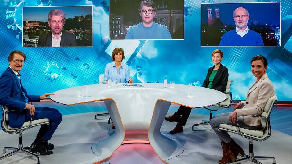 """Maybrit Illner hat in ihrer Sendung am 25.02.2021 mit ihren Gästen über die Frage """"Lockern, aber sicher - geht das?"""" diskutiert."""