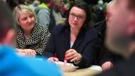 Die designierte SPD-Chefin Andrea Nahles wirbt um Zustimmung.