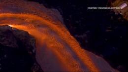 Luftaufnahmen zeigen Lava und Zerstörung
