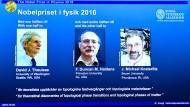 Den Nobelpreis für Physik teilen sich 2016 drei Wissenschaftler