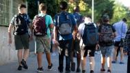 Wohin sie ihre Schullaufbahn wohl führt? Schüler in Frankfurt