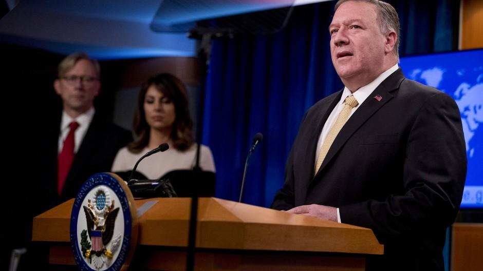 Der amerikanische Außenminister Mike Pompeo während einer Pressekonferenz in Washington.