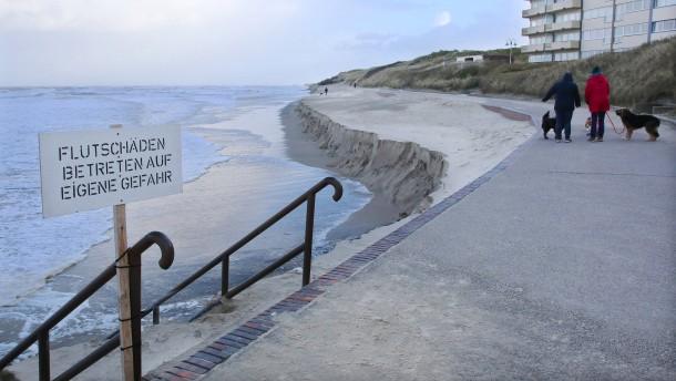 Strand auf Wangerooge fast komplett weggespült