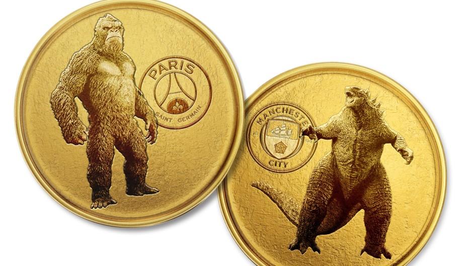 Godzilla und Kong in den Trikots von Paris Saint-Germain und Manchester City