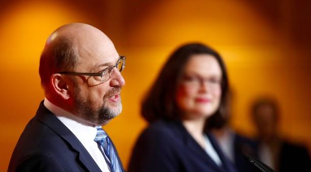Besser ohne Gabriel: Martin Schulz, Andrea Nahles am Mittwoch in Berlin