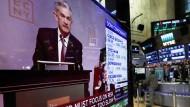 Marktbewegende Worte: Die Rede des Fed-Chefs Jerome Powell wurde auch an der New Yorker Börse aufmerksam wahrgenommen.