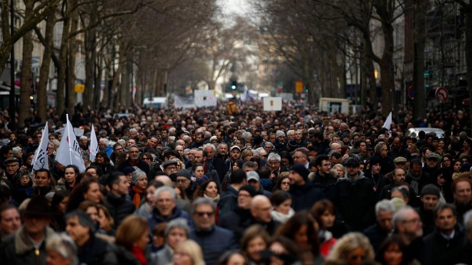 Paris am vergangenen Mittwoch: der Schweigemarsch zum Gedenken an die ermordete Mireille Knoll