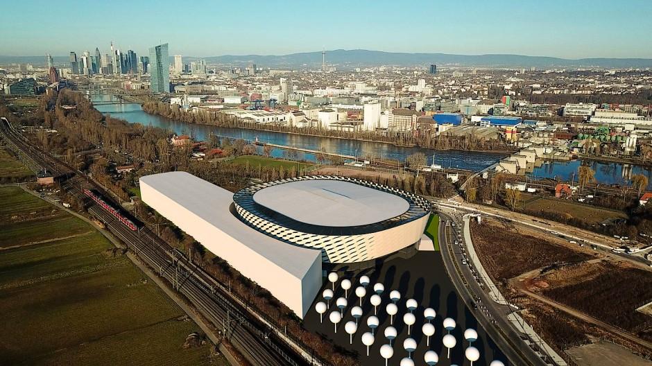 So könnte die Multifunktionshalle am Standort Kaiserlei an der Grenze zu Offenbach aussehen.