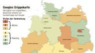 """In den vergangenen Wochen hat sich die Farbe der Deutschlandkarte im Netz von einem hellen Grün (minimale Verbreitung der Grippe) - in verschiedene Orange-Töne (mittlere Verbreitung) gewandelt. In Berlin und Sachsen-Anhalt ist die Lage derzeit offenbar besonders brenzlig, dort könnte bald die höchste Stufe erreicht sein: Rot. Zu diesem Ergebnis kommt der amerikanische Internetkonzern mit seinem Analyse-Projekt """"Google Flu Trends""""."""