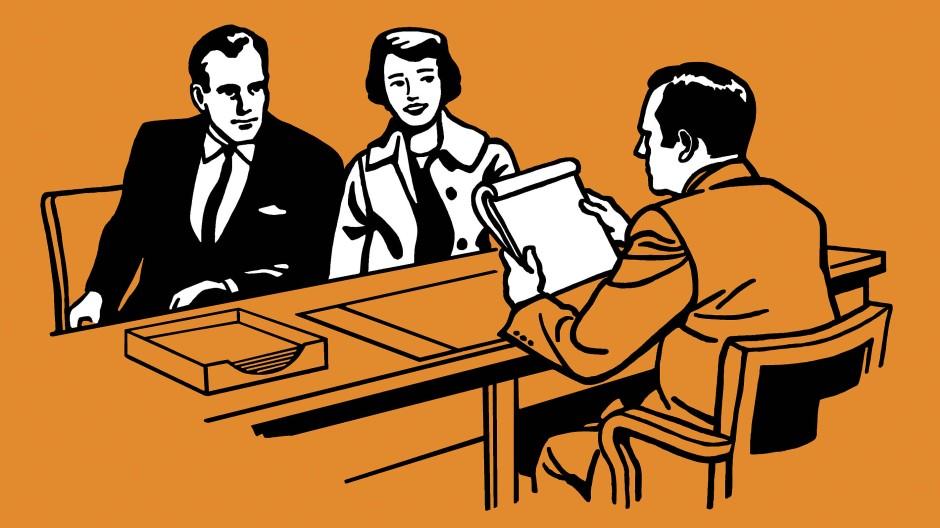 Illustration eines Paares bei der Finanzberatung