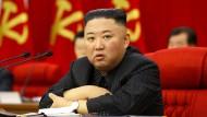 Nordkoreas Diktator Kim Jong-un im Juni während einer Sitzung der 3. Vollversammlung des 8. Zentralkomitees der Arbeiterpartei in Pjöngjang