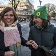 Grüner Frohsinn: Katharina Fegebank und die Fraktionsvorsitzende im Bundestag, Katrin Göring-Eckardt