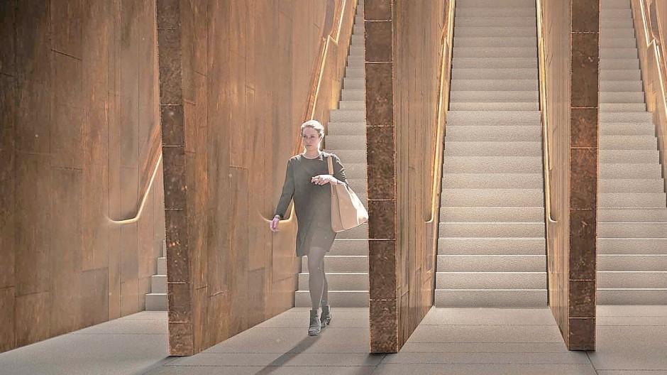 Tiefbau: der Entwurf von Architekt David Adjaye sieht bronzefarbene, finnenartige Wände vor.