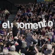 """""""Der Moment ist jetzt"""": Anhänger von Podemos auf einer Partei-Veranstaltung am Sonntag in Valencia."""