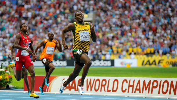 Bolt of Jamaica runs in the men's 200 metres final during the IAAF World Athletics Championships in Moscow