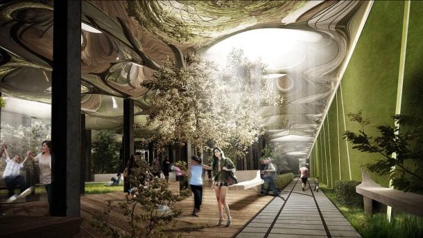 Ein Park in der Untergrundruine