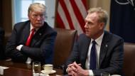Der amerikanische Präsident Donald Trump und der amtierenden Verteidigungsminister Patrick Shanahan während einer Sitzung im Weißen Haus.