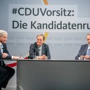 Die Drei: Norbert Röttgen (links), Armin Laschet und Friedrich Merz nach einer Diskussionsrunde im Konrad-Adenauer-Haus in Berlin.