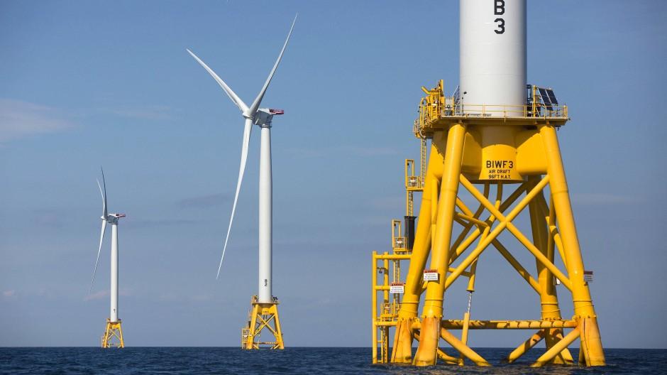 Offshore-Windräder stehen vor der Küste von Rhode Island.