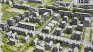Neue Wohnungen: Ein Gebiet am Waldrand zwischen Bessungen und der Eberstädter Villenkolonie. (Simulation)