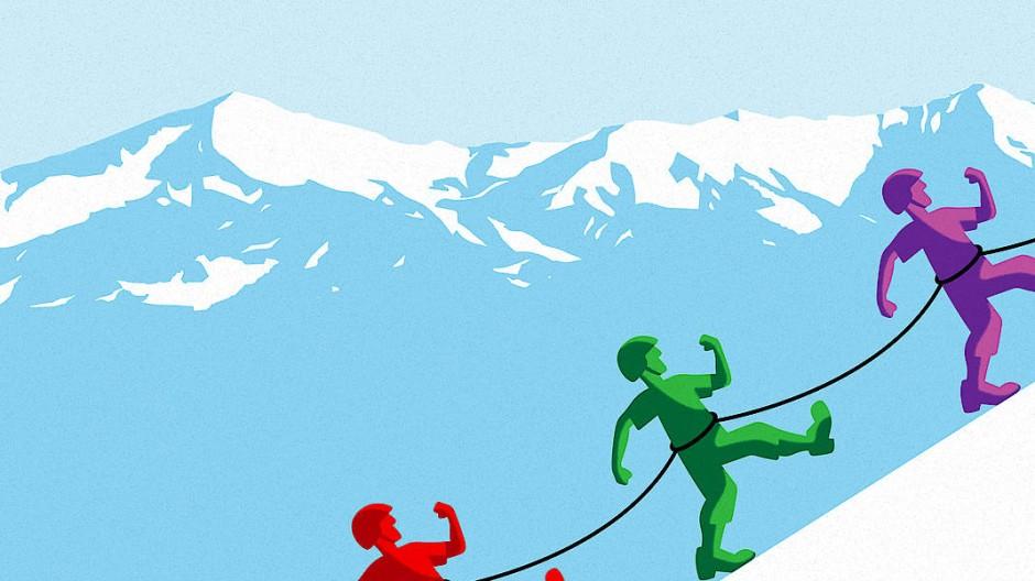 Nur gemeinsam stark: Bergsteiger