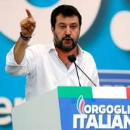 Italiens früherer Innenminister Matteo Salvini spricht auf einer Demonstration in Rom. (Archivfoto)