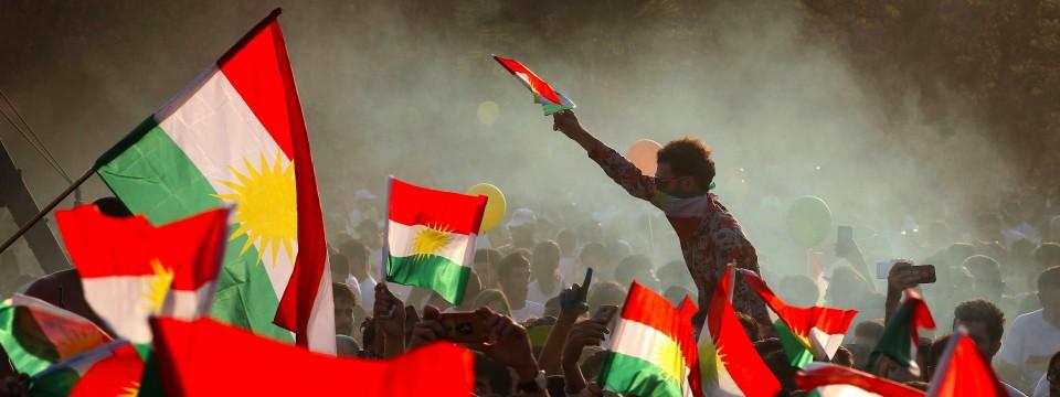 Irakische Kurden demonstrieren am vergangenen Freitag in Erbil für das Unabhängigkeits-Referendum.