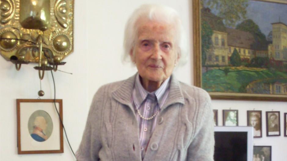Rüstig: Gerta Scharffenorth in ihrem Wohnzimmer in Heidelberg