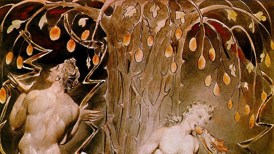"""Nahm ein Traum den Sündenfall vorweg? Oder hinterließ der böse Gedanke keine Spur? Illustration von William Blake zu John Miltons """"Paradise Lost"""""""
