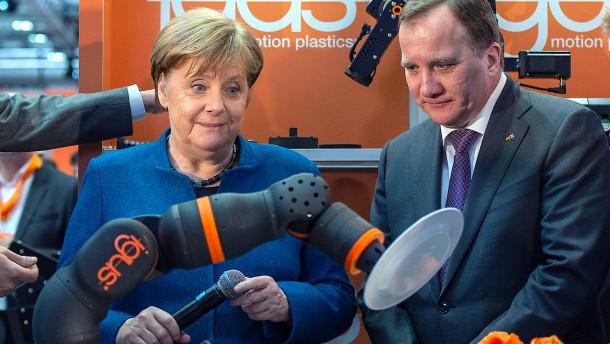 Merkel und Löfven auf der Hannover-Messe