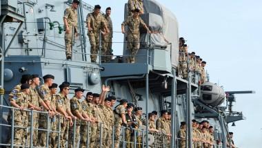"""Marine-Soldaten der Fregatte """"Bayern"""" kehren von einem Einsatz zurück."""